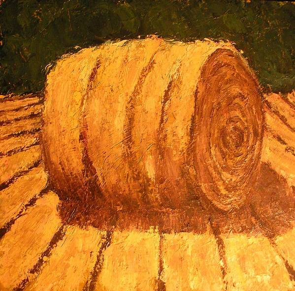 Art Sale Poster featuring the painting Haybale by Jaylynn Johnson