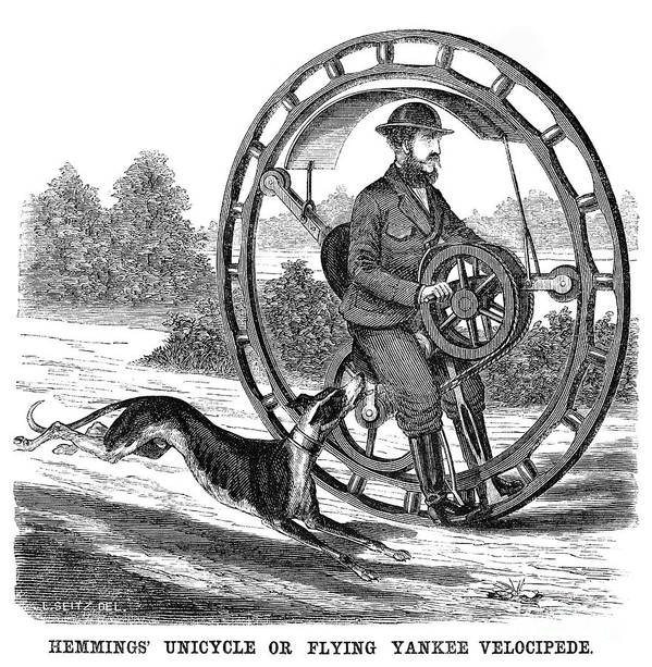 1869 Poster featuring the photograph Hemmings Unicycle, 1869 by Granger