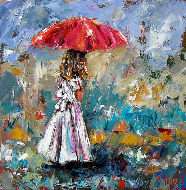Children Art Poster featuring the painting Her White Dress by Debra Hurd