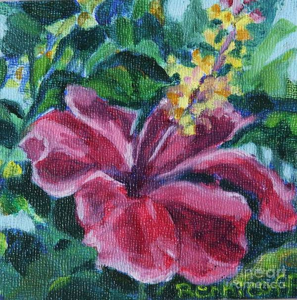 Hibiscus Poster featuring the painting Hibiscus in Miniature by Jan Bennicoff