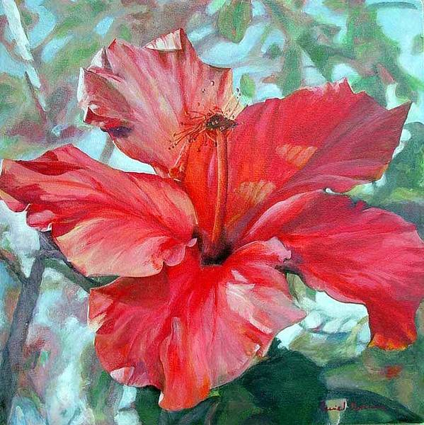 Floral Painting Poster featuring the painting Hibiscus rouge by Muriel Dolemieux