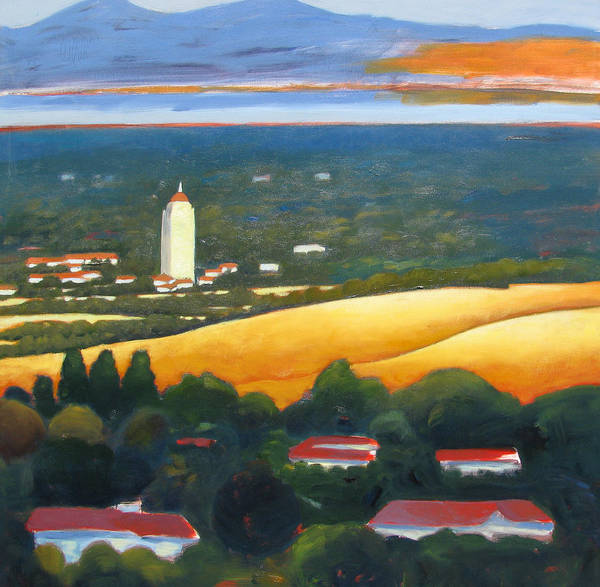 Stanford University Poster featuring the painting Hoover Tower From Hills by Gary Coleman