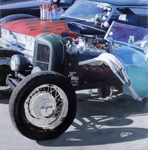 Cars Poster featuring the painting Hot Rods by Steve Metzger