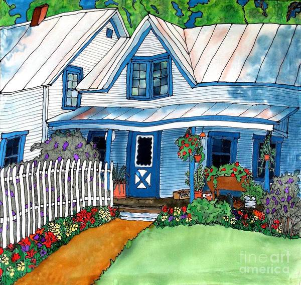 Church Poster featuring the painting House Fence And Flowers by Linda Marcille