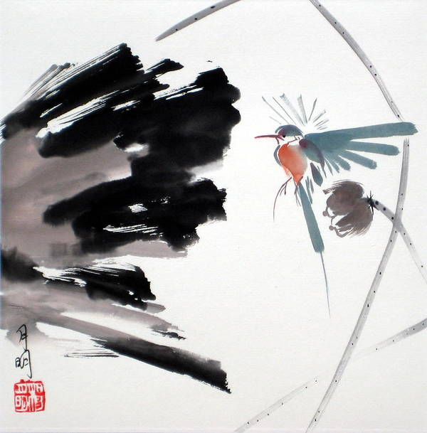 Chinese Painting Poster featuring the painting Hummingbird by Ming Yeung