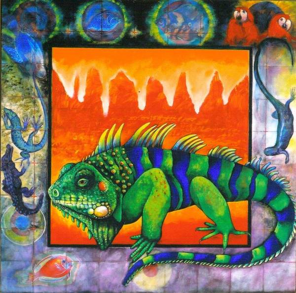 Iguana Poster featuring the painting Iguana by Christine McGinnis