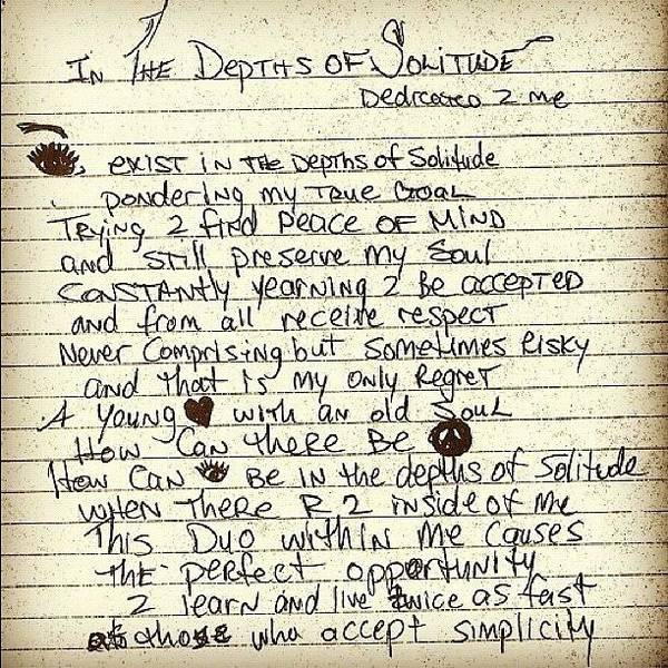 Poem Poster featuring the photograph In The Depths Of Solitude By Tupac by Joe C