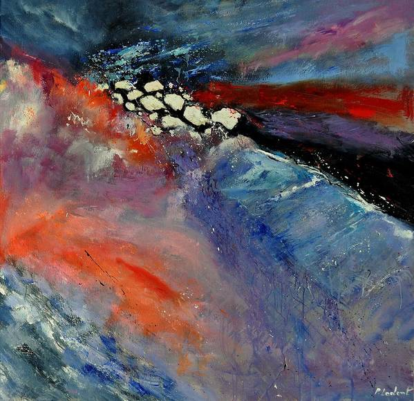 Abstract Poster featuring the painting Interstellar Overdrive 111110 by Pol Ledent