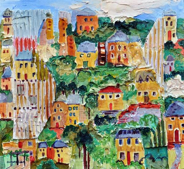 English Village Art Poster featuring the painting Ipswich by Ginger Concepcion