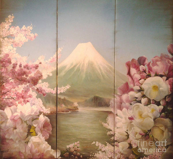 Flowers Paintings Poster featuring the painting Japanese Spring by Sorin Apostolescu