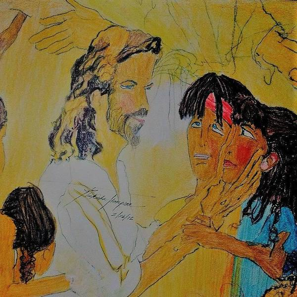 Children Poster featuring the drawing Jesus and the Children by Love Art Wonders By God