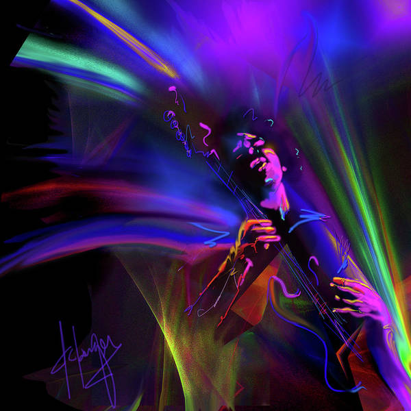 Guitar Poster featuring the painting Jimi Hendrix, Purple Haze by DC Langer