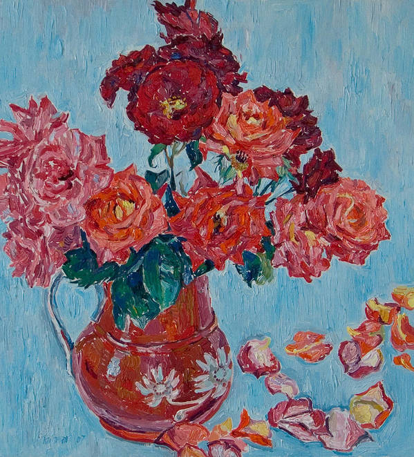 Roses Poster featuring the painting Jjug With Red Roses by Vitali Komarov