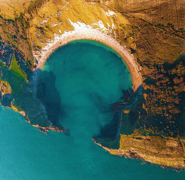 Poster Poster featuring the digital art Jurassic Coast From The Air by Don Kuing