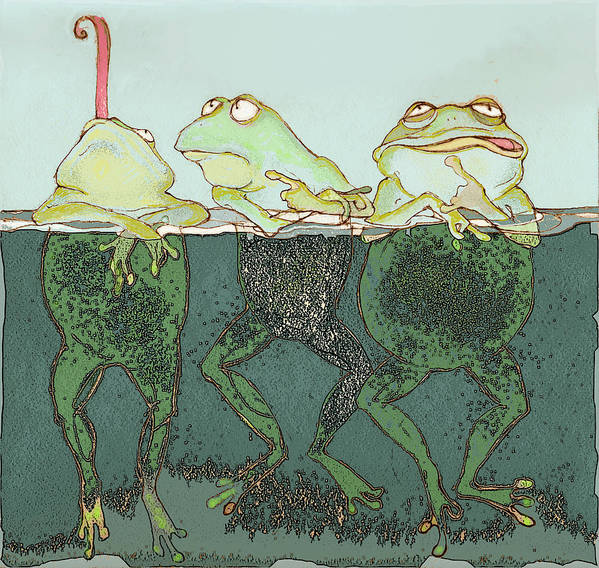 Frogs Poster featuring the mixed media Just Hanging by Peggy Wilson
