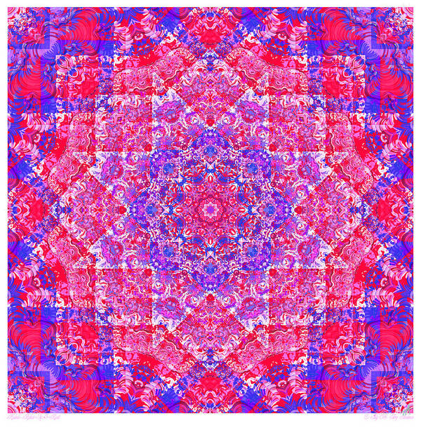 Kaleidoscope Poster featuring the digital art kaleido-Rubiat-3D Sq 53d Kwilt by Terry Anderson