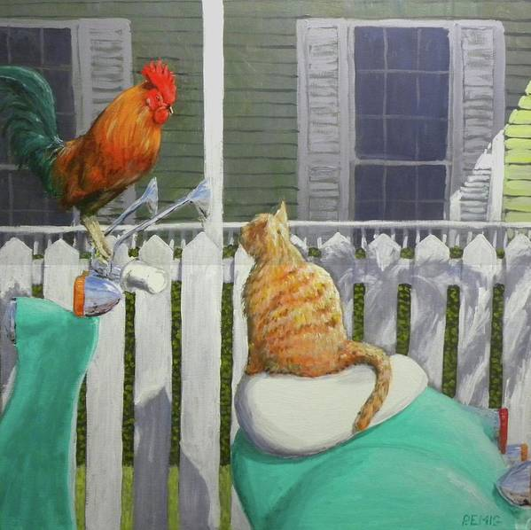 Rooster Poster featuring the painting Key West Buddies by Paul Emig