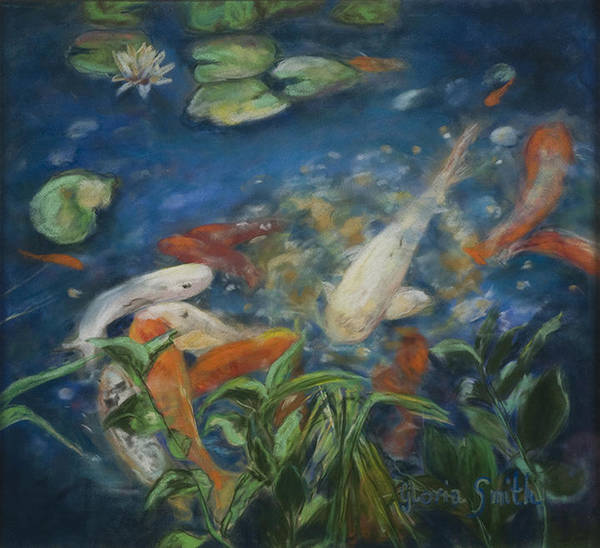 Fish Poster featuring the painting koi by Gloria Smith
