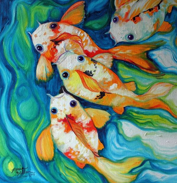 Fish Poster featuring the painting Koi Inny Minny Miney Moe by Marcia Baldwin