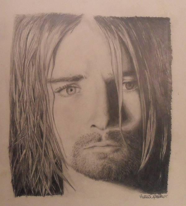 Kurt Cobain Poster featuring the drawing Kurt Cobain by Melissa Dzierlatka