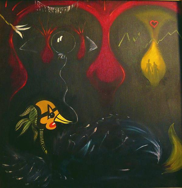 Surrealist Poster featuring the painting La Malade Imaginaire by Zsuzsa Sedah Mathe