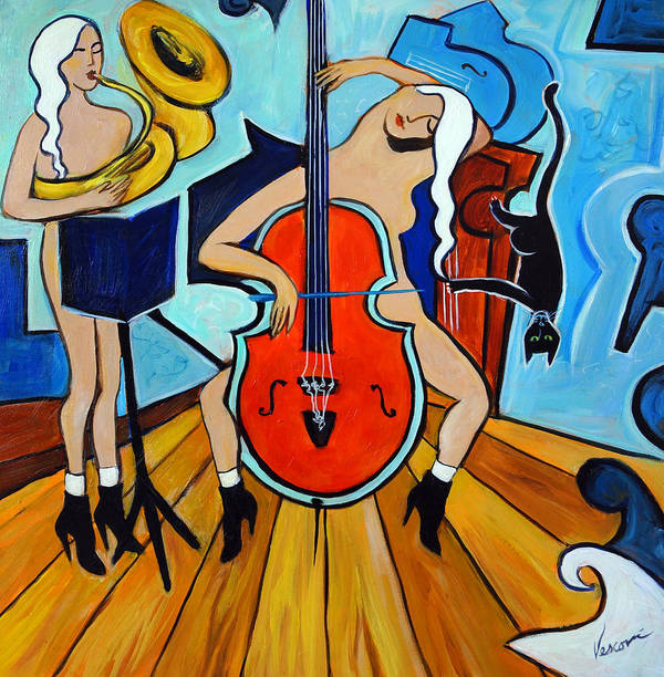 Musicians Poster featuring the painting Lady In Red by Valerie Vescovi