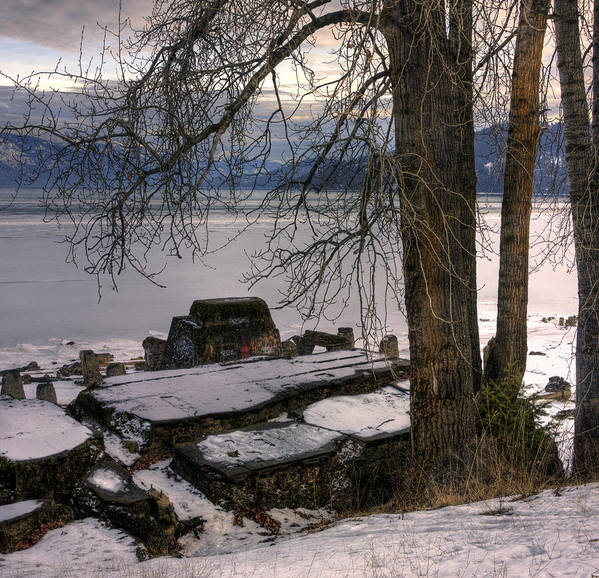 Landscape Poster featuring the photograph Lake Pend D'oreille At Humbird Ruins 1 by Lee Santa