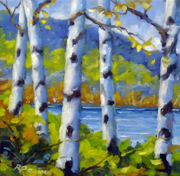 Original Painting;oil; Landscape; Birches; Trees; Nature; Richard T Pranke; Lake Poster featuring the painting Lake View by Richard T Pranke
