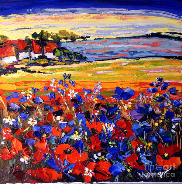 Artwork Poster featuring the painting Landscape With Poppies by Maya Green
