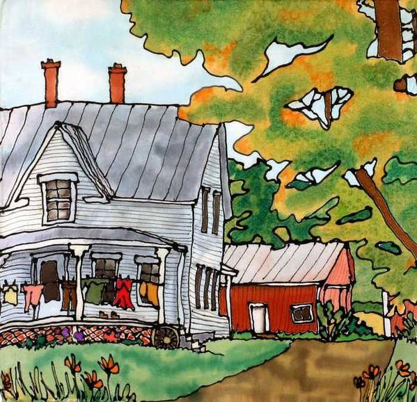 Farm Poster featuring the painting Laundry Day by Linda Marcille