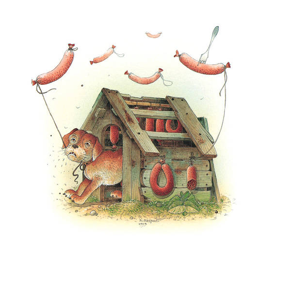 Food Dog Kitchen Poster featuring the painting Lazinessland01 by Kestutis Kasparavicius