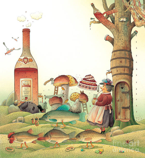 Food Landscape Kitchen Poster featuring the painting Lazinessland03 by Kestutis Kasparavicius