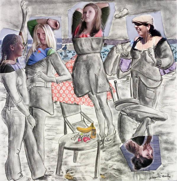 Girls Poster featuring the painting Les Demoiselles Of Santa Cruz V8 by Susan Cafarelli Burke