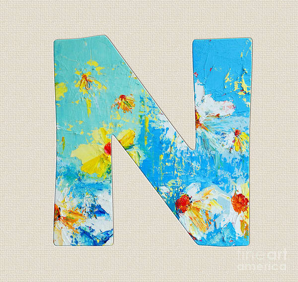 Alphabet Letter N Poster featuring the painting Letter N Roman Alphabet - A Floral Expression, Typography Art by Patricia Awapara