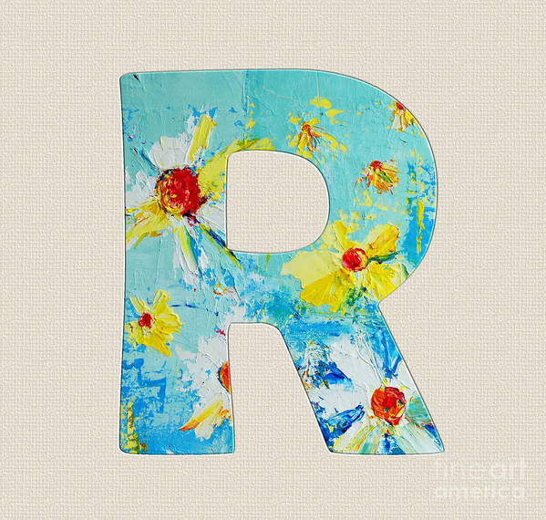 Roman Alphabet Letter R Poster featuring the painting Letter R Roman Alphabet - A Floral Expression, Typography Art by Patricia Awapara