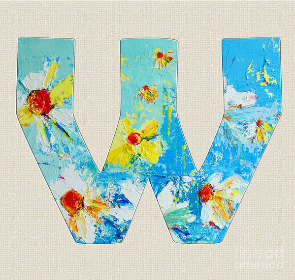 Roman Alphabet Letter W Poster featuring the painting Letter W Alphabet A Floral Expression by Patricia Awapara