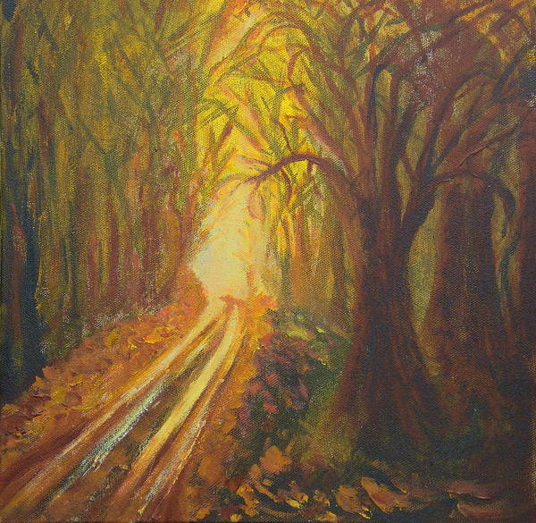 Forest Poster featuring the painting Light Down The Road by Margaret G Calenda