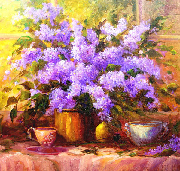 Lilacs Poster featuring the painting Lilacs by Gail Salitui
