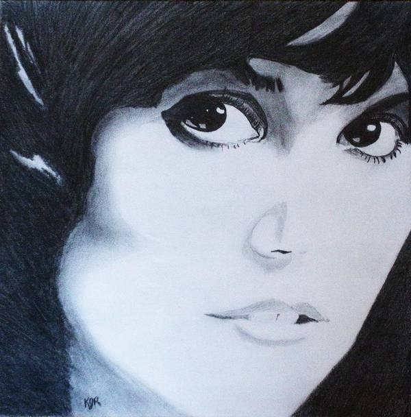Linda Ronstadt Poster featuring the drawing Linda Ronstadt by Kenneth Regan