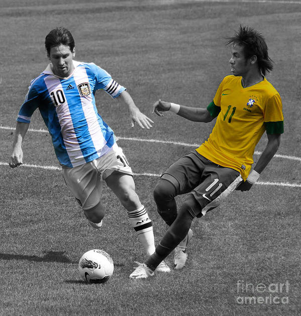 David And Goliath Lionel Messi And Neymar Junior Poster featuring the photograph Lionel Messi And Neymar Clash Of The Titans At Metlife Stadium by Lee Dos Santos
