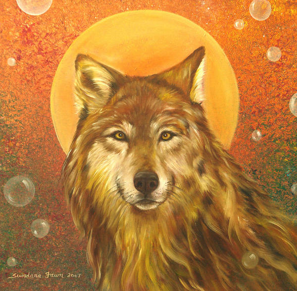 Wolf Poster featuring the painting Listening by Sundara Fawn