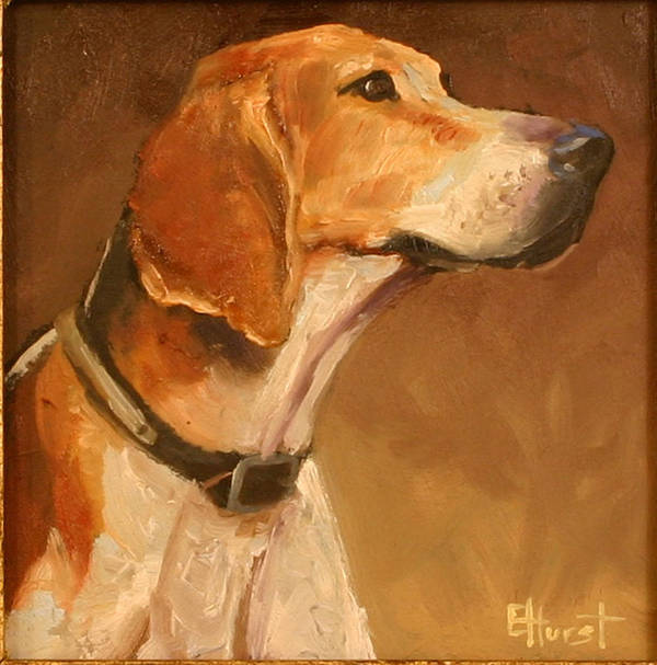 Foxhound Painting Poster featuring the painting Listening To The Master by Elaine Hurst