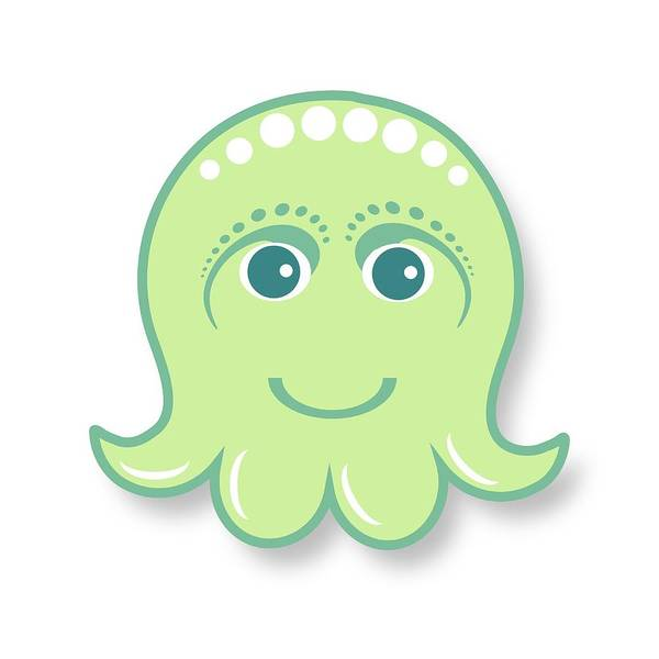 Little Octopus Poster featuring the digital art Little Cute Green Octopus by Ainnion