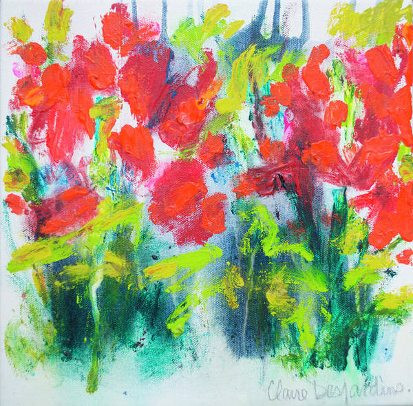Abstract Poster featuring the painting Little Garden 01 by Claire Desjardins