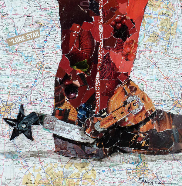 Torn Paper Collage Poster featuring the painting Lone Star Spur by Suzy Pal Powell