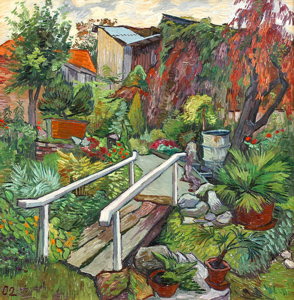 Landscape Poster featuring the painting Lovely Flower Garden by Vitali Komarov