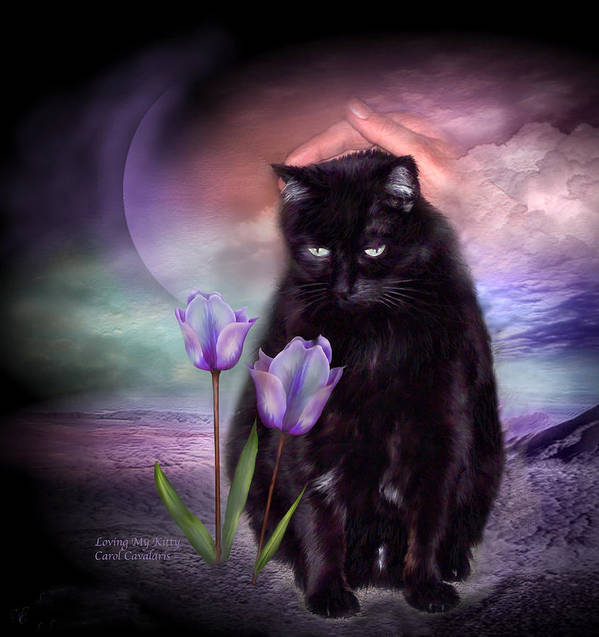 Cat Poster featuring the mixed media Loving My Kitty by Carol Cavalaris