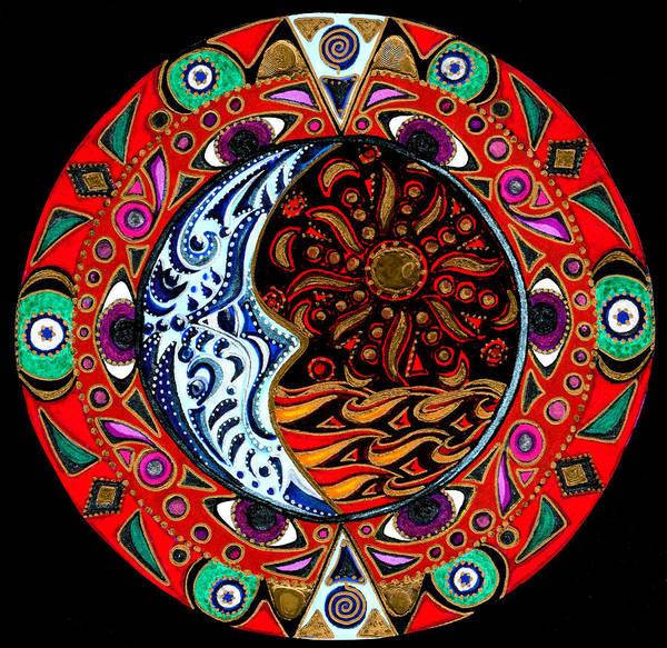 Mandala Poster featuring the painting Luna Sea by Pam Ellis