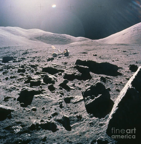 Apollo 17 Poster featuring the photograph Lunar Rover At Rim Of Camelot Crater by NASA / Science Source