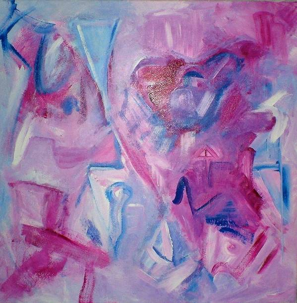 Abstract Poster featuring the painting Magenta Blues by Rashne Baetz